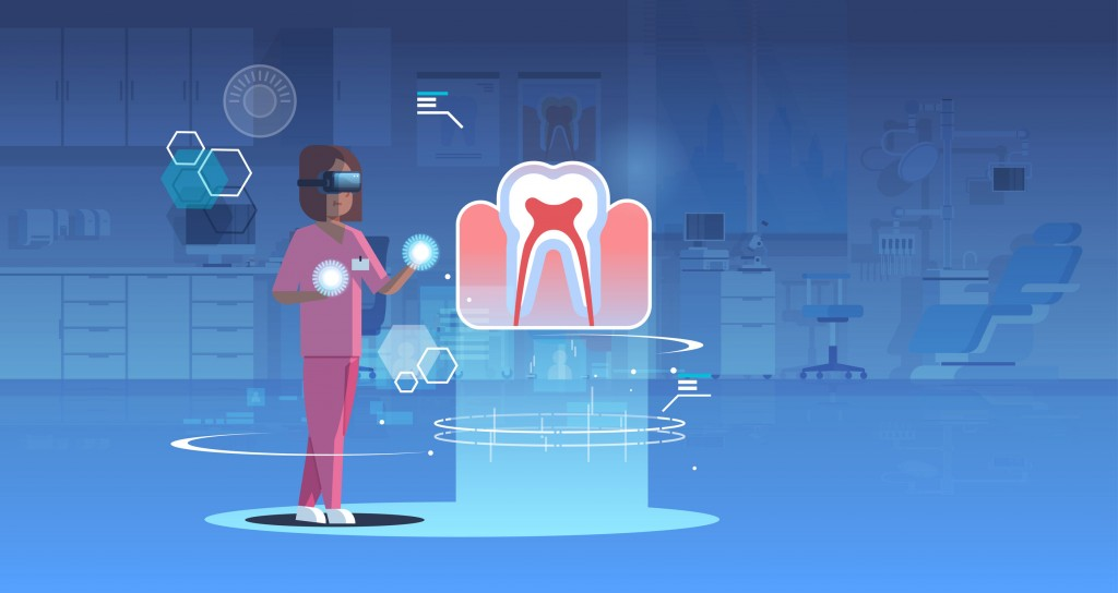 female doctor nurse wearing digital glasses looking virtual reality tooth human organ anatomy healthcare medical vr headset vision concept operation room interior full length horizontal